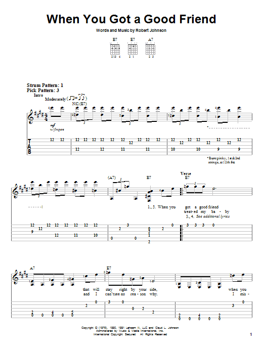 Robert Johnson When You Got A Good Friend sheet music notes and chords. Download Printable PDF.
