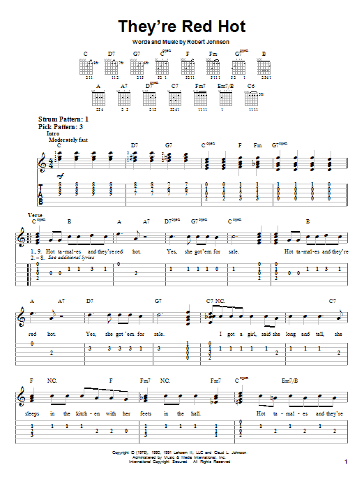 Robert Johnson They're Red Hot sheet music notes and chords. Download Printable PDF.