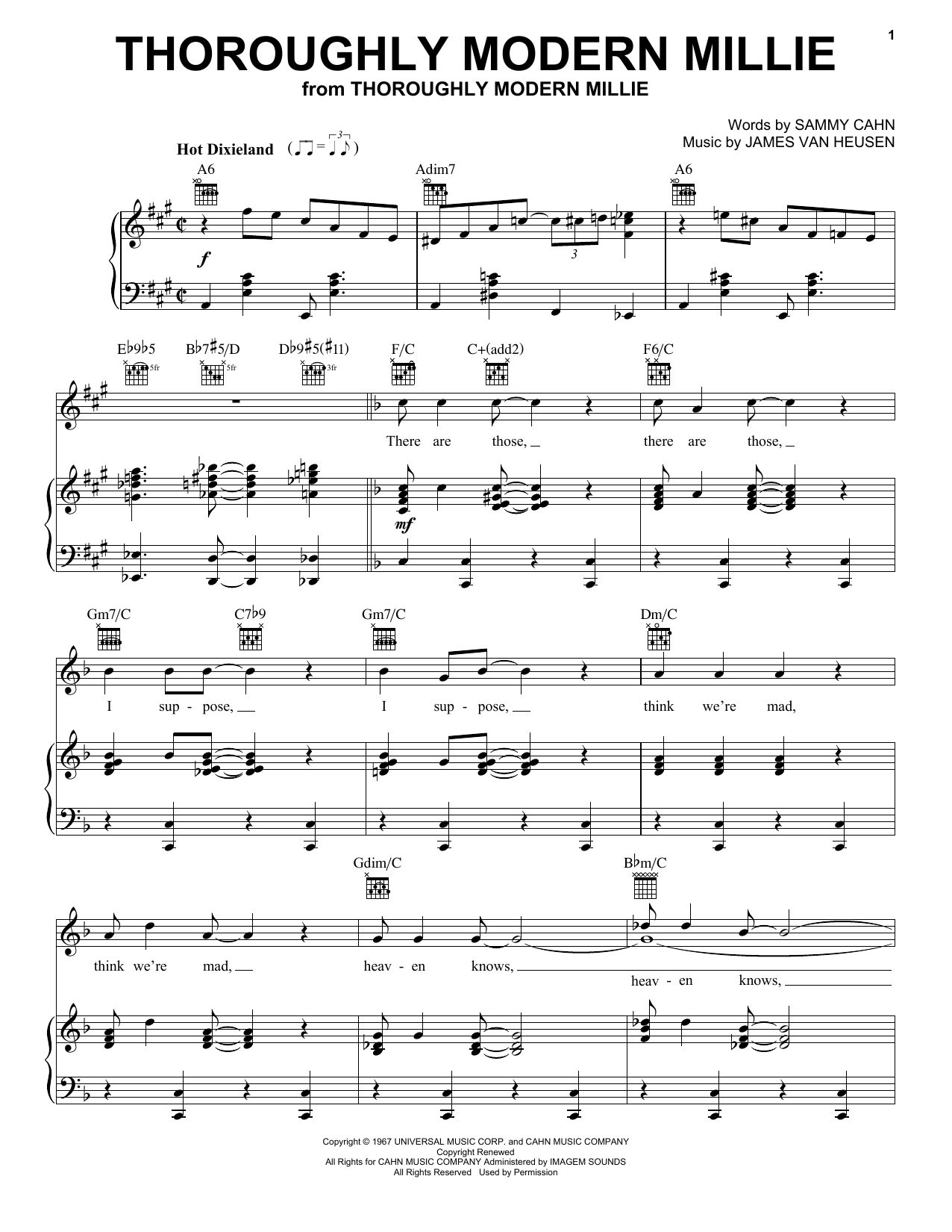 Sammy Cahn Thoroughly Modern Millie sheet music notes and chords. Download Printable PDF.