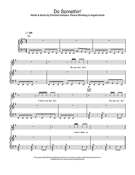 Britney Spears Do Somethin' sheet music notes and chords. Download Printable PDF.