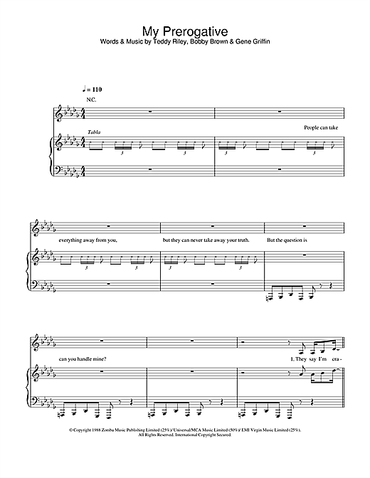 Britney Spears My Prerogative sheet music notes and chords. Download Printable PDF.