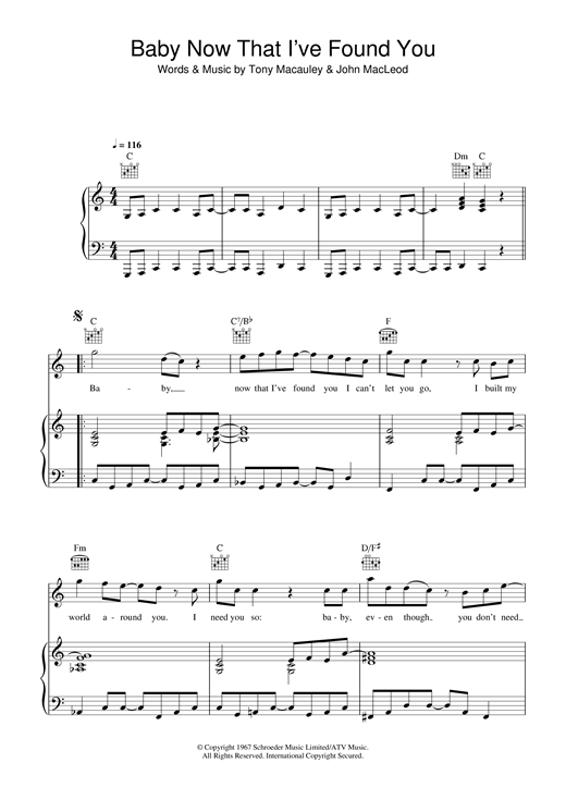 The Foundations Baby, Now That I've Found You sheet music notes and chords. Download Printable PDF.