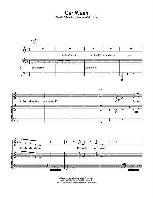 Christina Aguilera Car Wash sheet music notes and chords. Download Printable PDF.