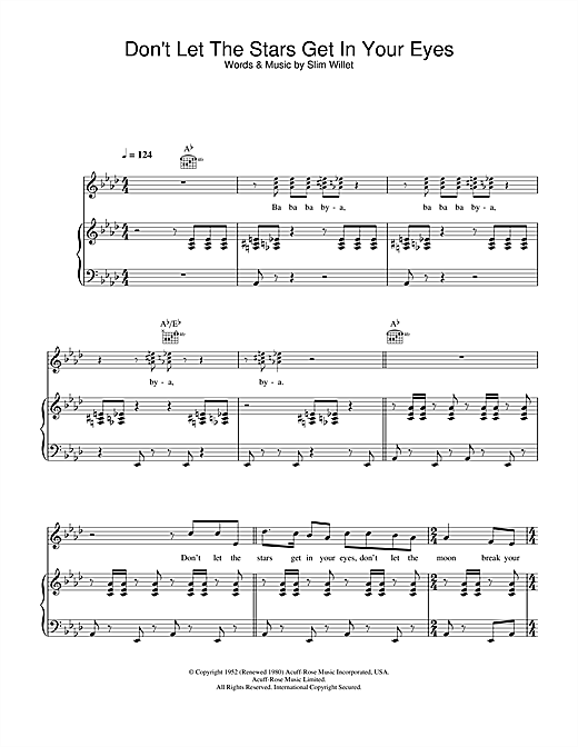 Perry Como Don't Let The Stars Get In Your Eyes sheet music notes and chords. Download Printable PDF.