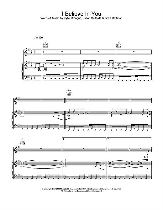 Kylie Minogue I Believe In You sheet music notes and chords. Download Printable PDF.