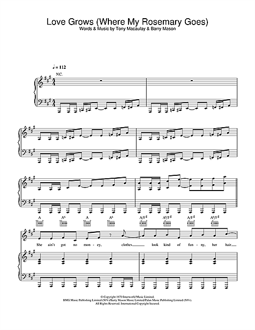 Edison Lighthouse Love Grows (Where My Rosemary Goes) sheet music notes and chords. Download Printable PDF.