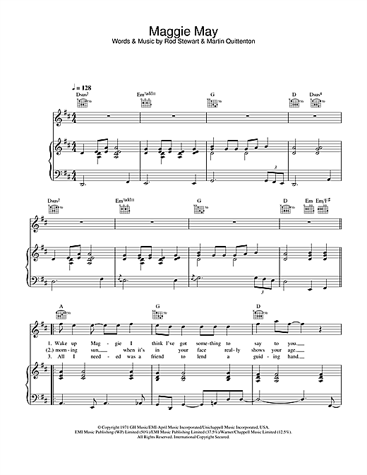Rod Stewart Maggie May sheet music notes and chords. Download Printable PDF.