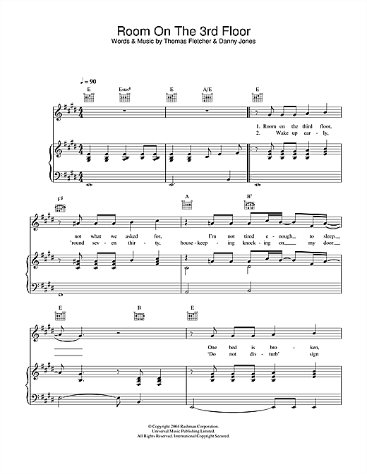 McFly Room On The 3rd Floor sheet music notes and chords. Download Printable PDF.
