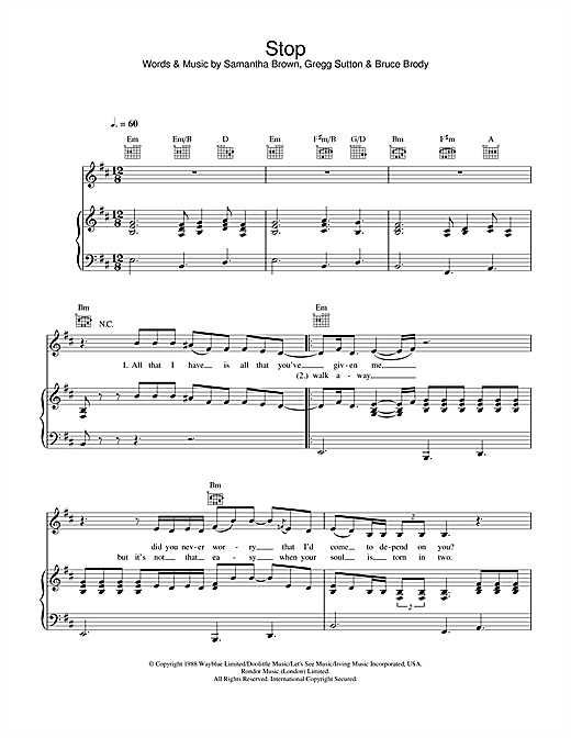 Jamelia Stop sheet music notes and chords. Download Printable PDF.