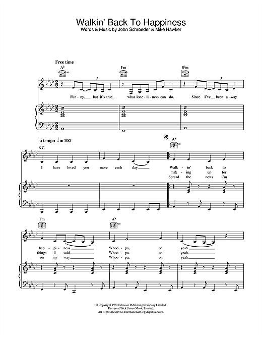 Helen Shapiro Walkin' Back To Happiness sheet music notes and chords. Download Printable PDF.