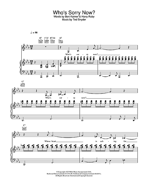 Connie Francis Who's Sorry Now? sheet music notes and chords. Download Printable PDF.