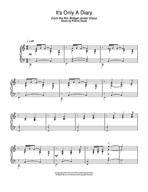 Patrick Doyle It's Only A Diary (from Bridget Jones's Diary) sheet music notes and chords. Download Printable PDF.