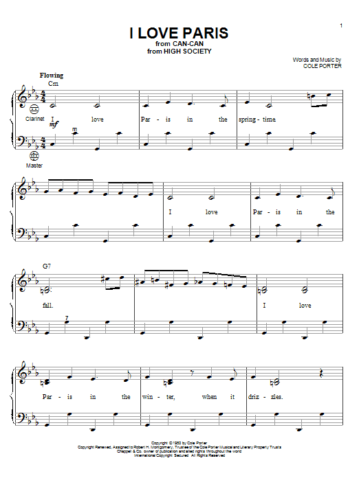 Cole Porter I Love Paris sheet music notes and chords. Download Printable PDF.