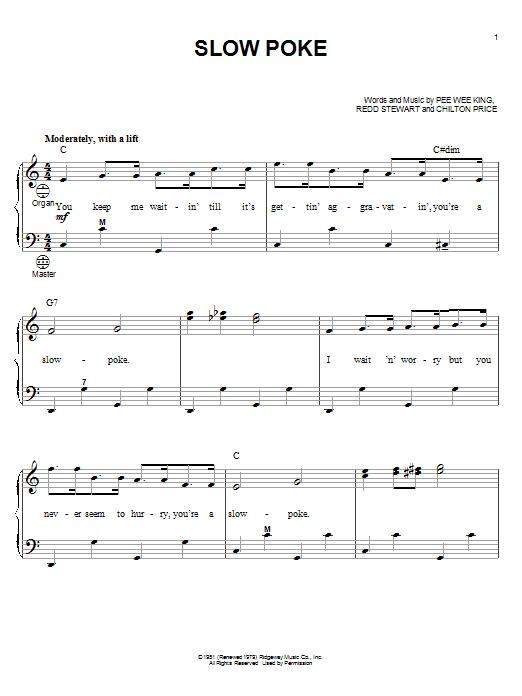 Pee Wee King Slow Poke sheet music notes and chords. Download Printable PDF.