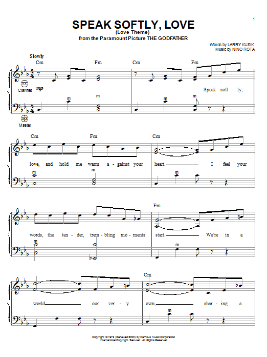 Andy Williams Speak Softly, Love (Love Theme) sheet music notes and chords. Download Printable PDF.