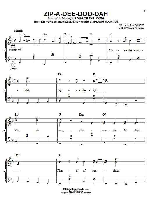 Ray Gilbert Zip-A-Dee-Doo-Dah sheet music notes and chords. Download Printable PDF.