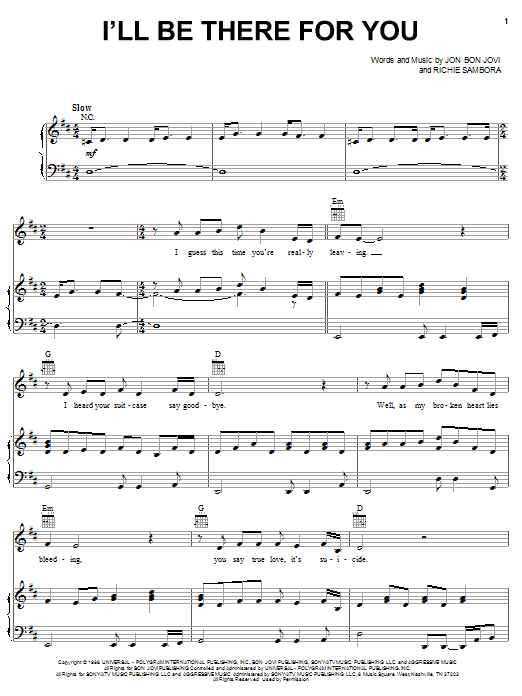 Bon Jovi I'll Be There For You sheet music notes and chords. Download Printable PDF.