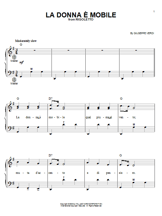 Giuseppe Verdi La Donna e Mobile sheet music notes and chords. Download Printable PDF.