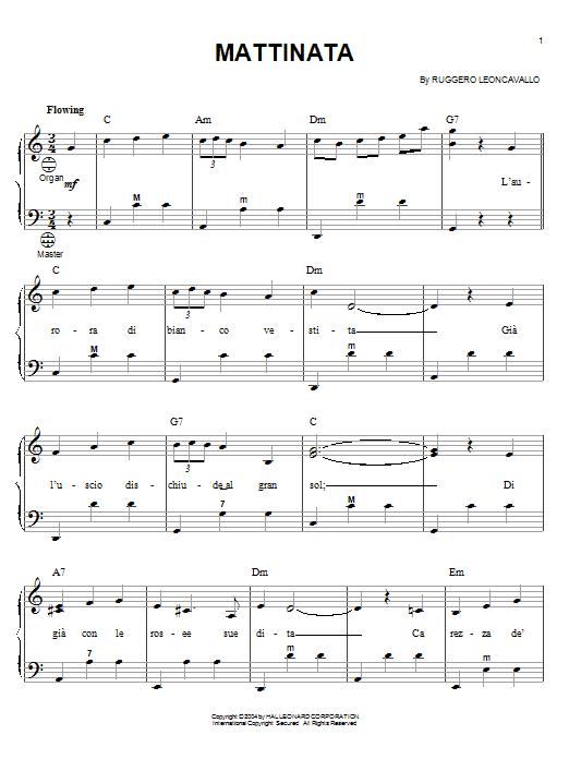 Mario Lanza Mattinata sheet music notes and chords. Download Printable PDF.