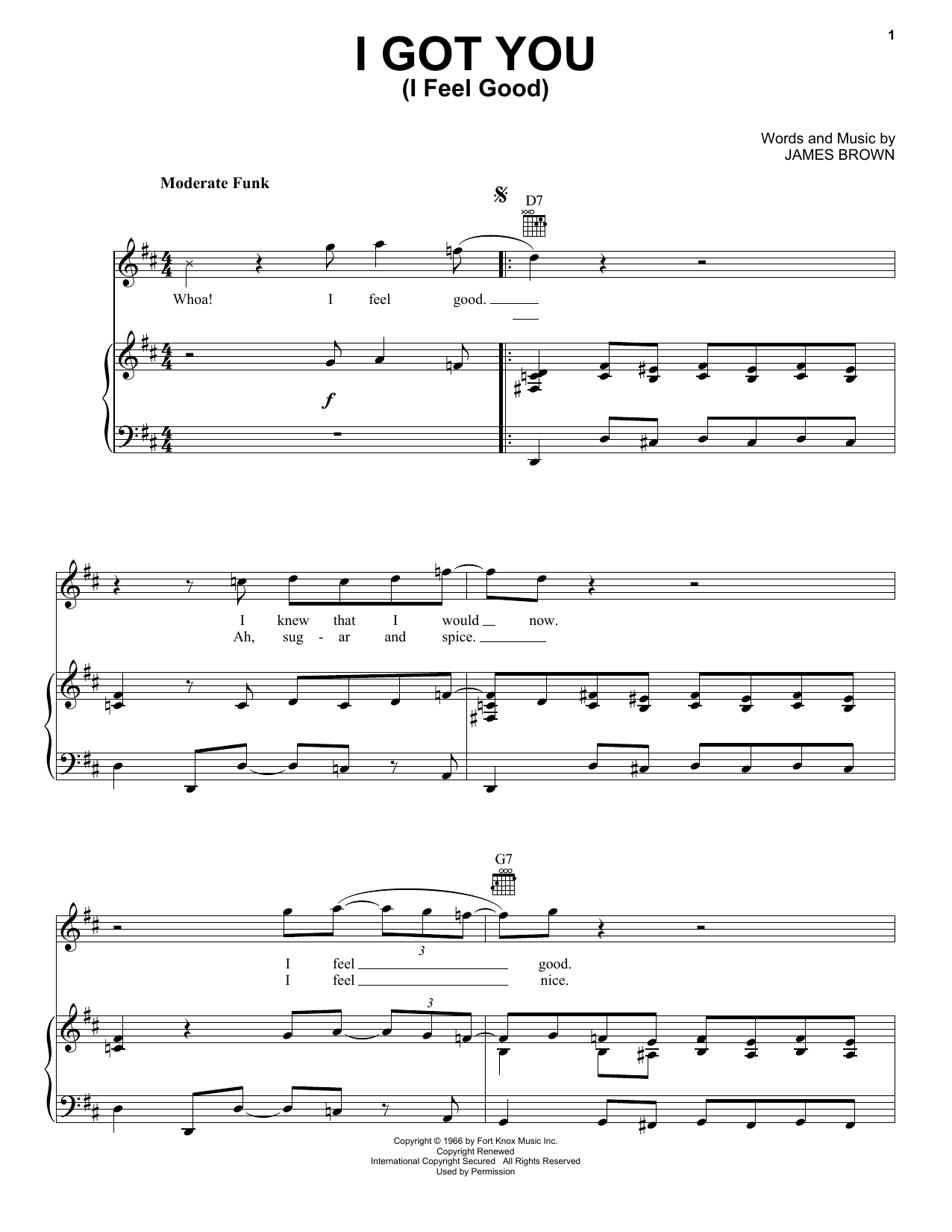 James Brown I Got You (I Feel Good) sheet music notes and chords. Download Printable PDF.