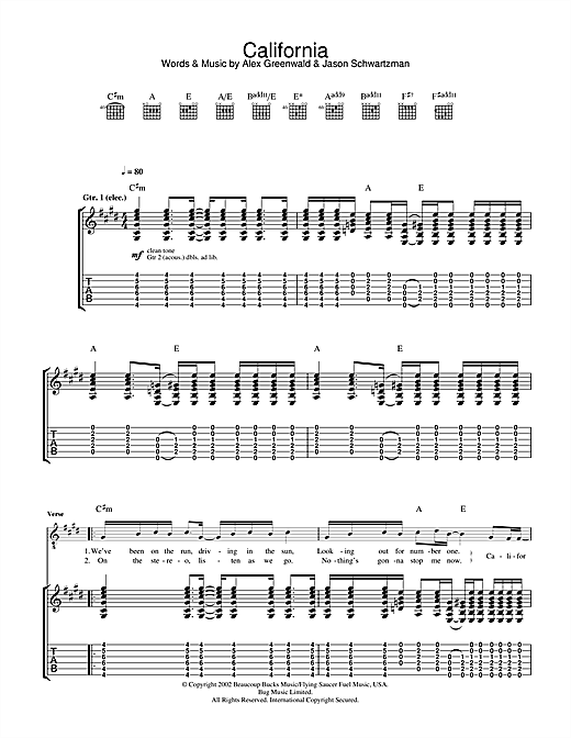 Phantom Planet California (theme from The OC) sheet music notes and chords. Download Printable PDF.