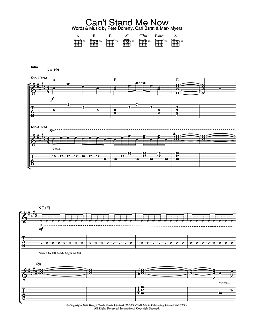 The Libertines Can't Stand Me Now sheet music notes and chords. Download Printable PDF.