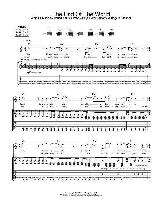 The Cure The End Of The World sheet music notes and chords. Download Printable PDF.