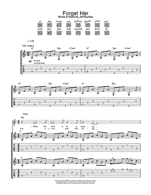 Jeff Buckley Forget Her sheet music notes and chords. Download Printable PDF.