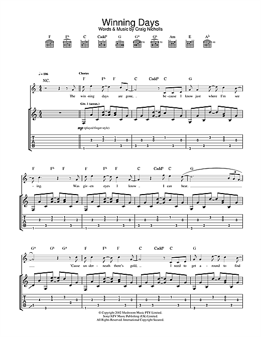 The Vines Winning Days sheet music notes and chords. Download Printable PDF.
