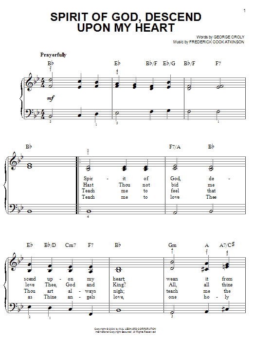 George Croly Spirit Of God, Descend Upon My Heart sheet music notes and chords. Download Printable PDF.
