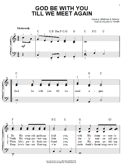 Jeremiah E. Rankin God Be With You Till We Meet Again sheet music notes and chords. Download Printable PDF.