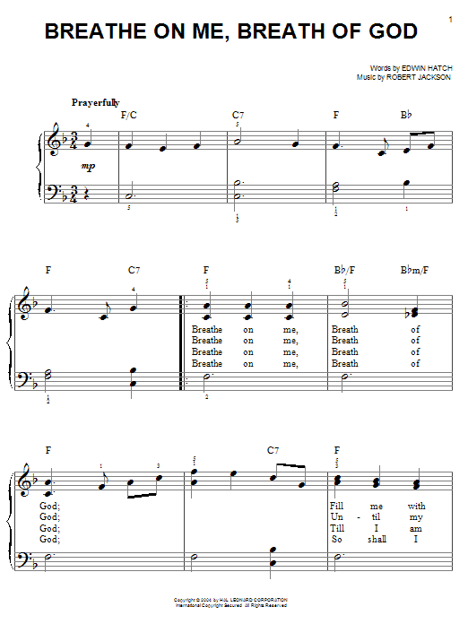 Edwin Hatch Breathe On Me, Breath Of God sheet music notes and chords. Download Printable PDF.