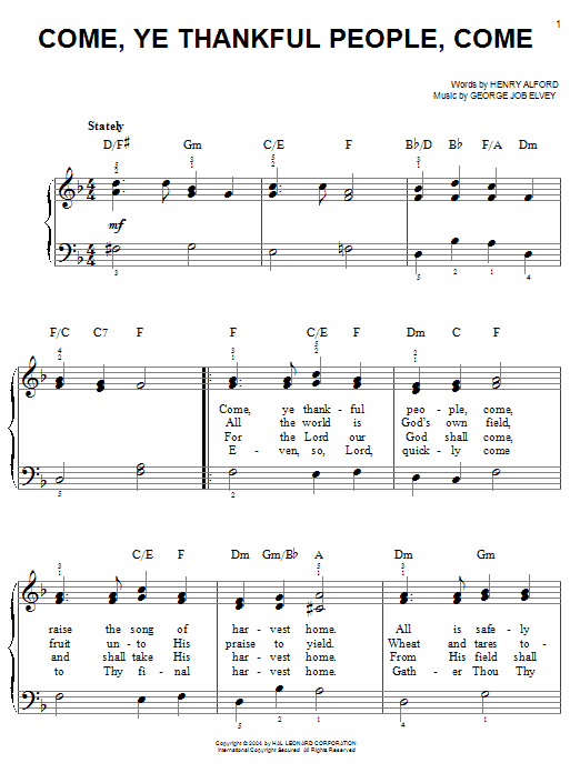 Henry Alford Come, Ye Thankful People, Come sheet music notes and chords. Download Printable PDF.