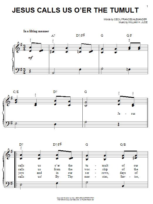Cecil Frances Alexander Jesus Calls Us O'er The Tumult sheet music notes and chords. Download Printable PDF.