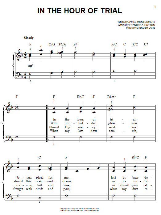 James Montgomery In The Hour Of Trial sheet music notes and chords. Download Printable PDF.