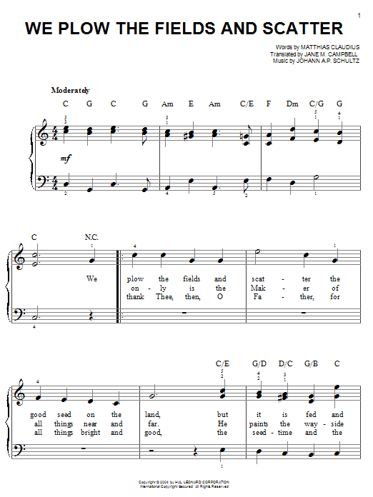 Matthias Claudius We Plow The Fields And Scatter sheet music notes and chords. Download Printable PDF.