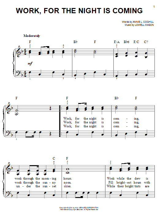 Annie L. Coghill Work, For The Night Is Coming sheet music notes and chords. Download Printable PDF.