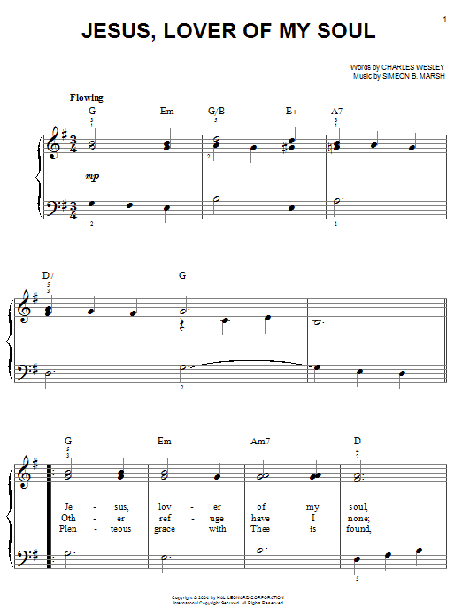 Charles Wesley Jesus, Lover Of My Soul sheet music notes and chords. Download Printable PDF.