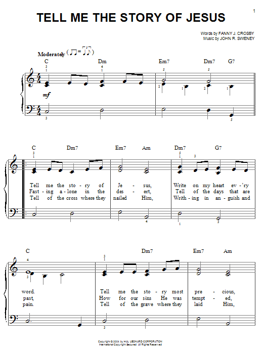 Fanny J. Crosby Tell Me The Story Of Jesus sheet music notes and chords. Download Printable PDF.