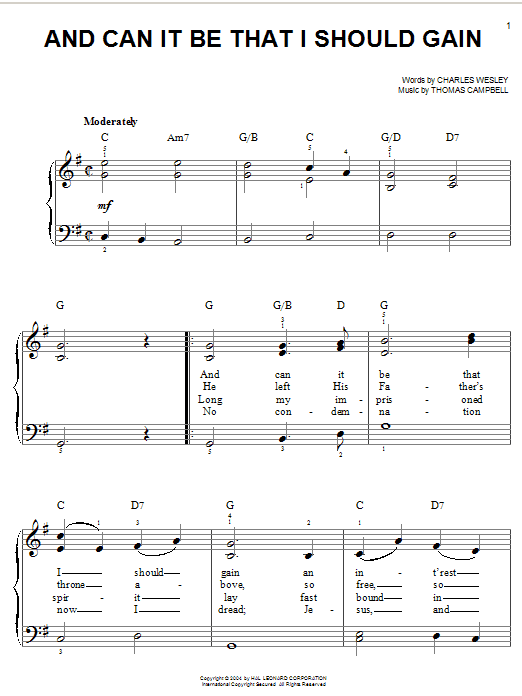 Charles Wesley And Can It Be That I Should Gain sheet music notes and chords. Download Printable PDF.