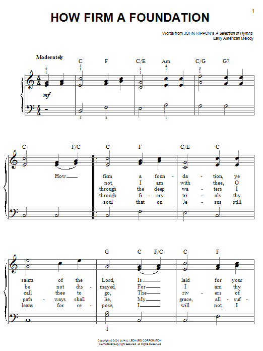 John Rippon How Firm A Foundation sheet music notes and chords. Download Printable PDF.