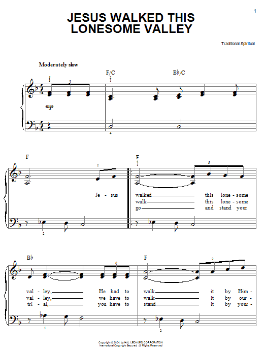 African-American Spiritual Jesus Walked This Lonesome Valley (Myers) sheet music notes and chords. Download Printable PDF.