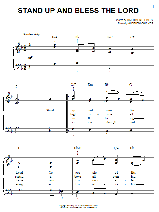 James Montgomery Stand Up And Bless The Lord sheet music notes and chords. Download Printable PDF.