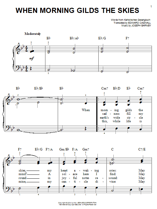 Joseph Barnby When Morning Gilds The Skies sheet music notes and chords. Download Printable PDF.