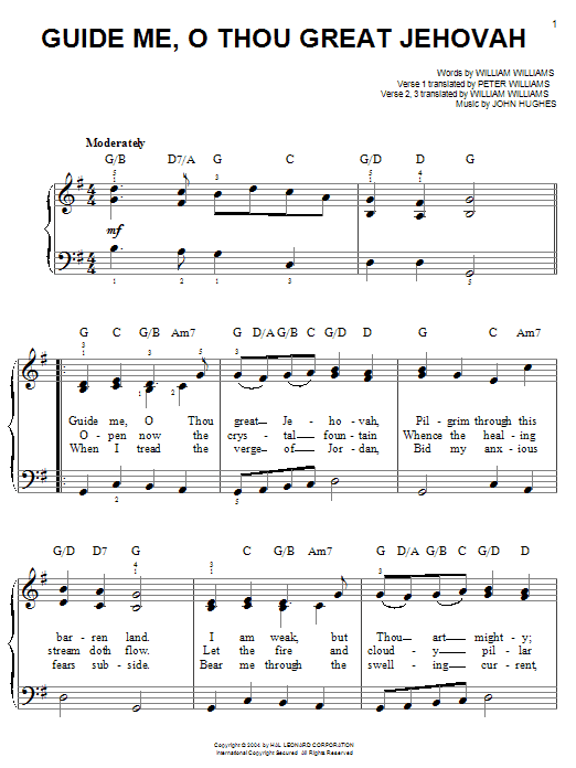William Williams Guide Me, O Thou Great Jehovah sheet music notes and chords. Download Printable PDF.