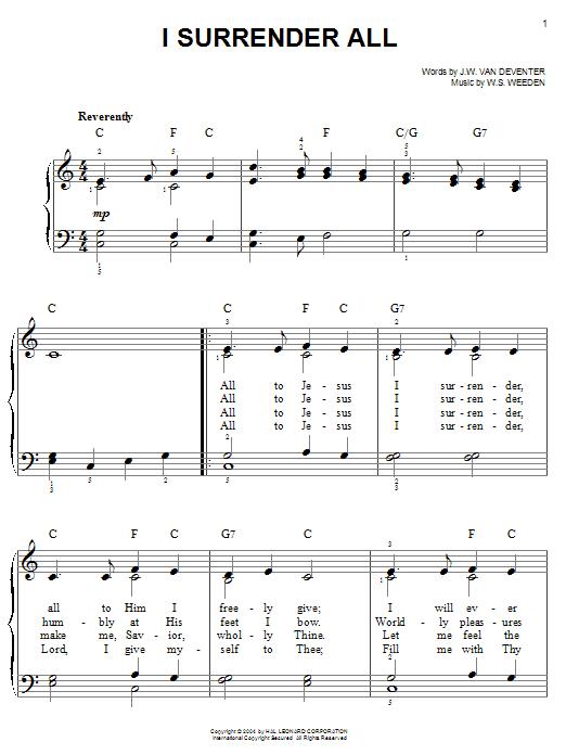 Judson W. Van De Venter I Surrender All sheet music notes and chords. Download Printable PDF.