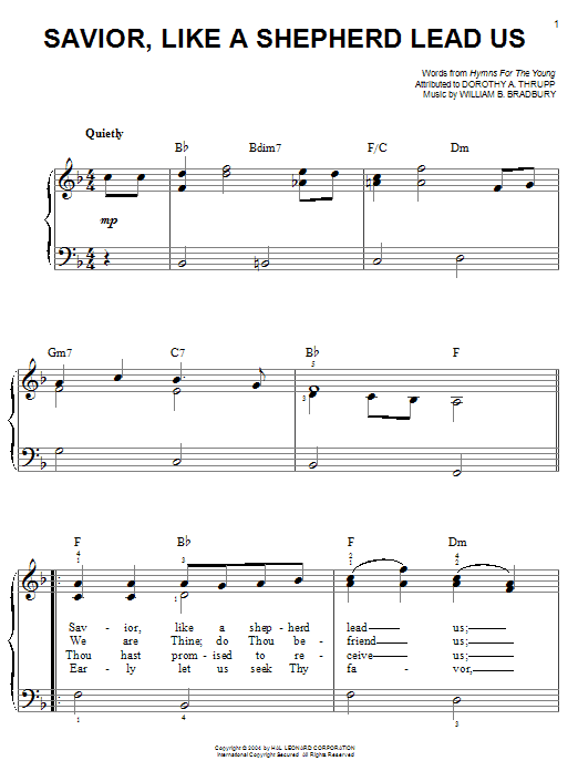 William B. Bradbury Savior, Like A Shepherd Lead Us sheet music notes and chords. Download Printable PDF.