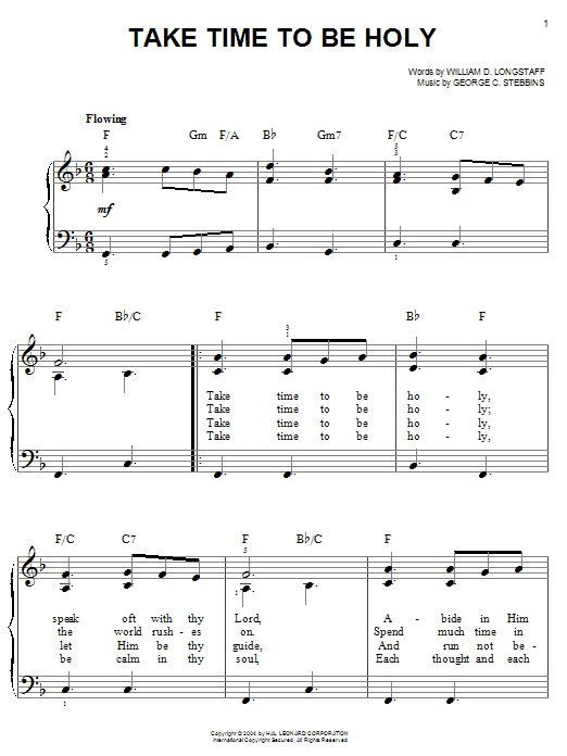 William D. Longstaff Take Time To Be Holy sheet music notes and chords. Download Printable PDF.
