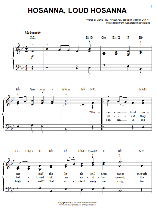 Jennette Threlfall Hosanna, Loud Hosanna sheet music notes and chords. Download Printable PDF.