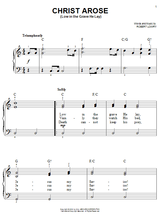Robert Lowry Christ Arose (Low In The Grave He Lay) sheet music notes and chords. Download Printable PDF.